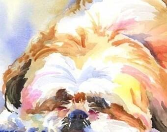 Shih Tzu Art Print of Original Watercolor Painting - 8x10
