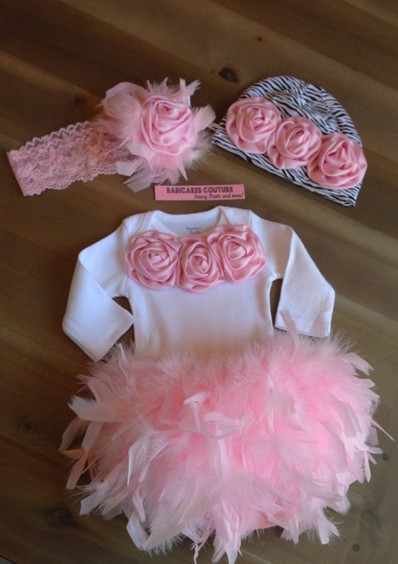 Newborn Girl Take Home Outfit Feather Couture Outfit Bloomer