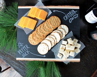 Chalkboard Cheese Tray - Serving Platter- Finished Product - FREE shipping! - Home Decor - Chalkboard Label - Rustic Tray - Basswood