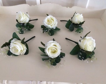 Vintage ivory luxury x1 rose button holes with crystal or pearl pins wedding grooms men or wedding party...
