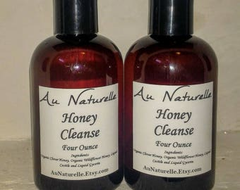 FLASH SALE   -  Honey Cleanse   Four Ounce  - All Natural Cleanser   - Face Wash  -  Honey Glycerin & Castille