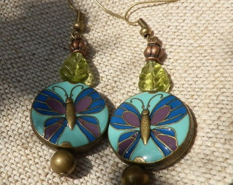 Butterfly earrings/Boho chic earrings/Hippie style jewelry/Gypsy chic/mantra jewelry/butterflies/bronze earrings/dangle earrings