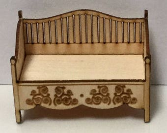 Quarter Inch Scale Renaissance Daybed Dollhouse Furniture Kit.