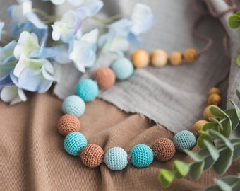 Knotted Nursing Necklace - Lagoon, Juniper Wood