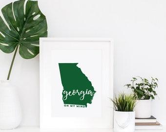 Georgia on My Mind | Georgia art | Georgia print | Georgia decor | Georgia Peach | Atlanta, GA | Augusta, GA | Athens, GA | Savannah ga