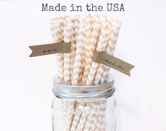 Ivory Paper Straws, Cream Straws, 25 Beige Paper Straws, Made in USA Vintage Wedding Table Setting Rustic Wedding Baby Shower Party Supplies
