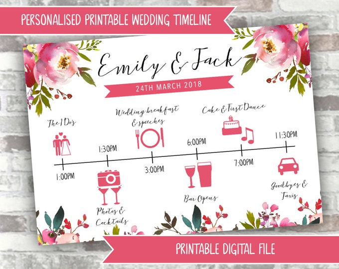 PRINTABLE Digital File - Personalised Wedding Timeline Personalized Order of the Day/Order of Service