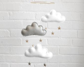 White and grey cloud mobile, Neutral gender nursery mobile, neutral baby gift- Ceiling Mobile-Baby mobile- monochrome mobile- cot mobile
