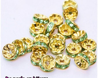10-pcs-Pearl rondelle spacer 8 mm gold metal 8mm Green rhinestones