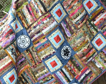 Asian Quilt Handmade Modern Oriental Asian Japanese Chinese Inspired Home Decor Quilt with embroidered appliqued motifs