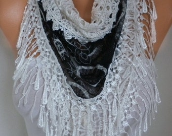 Black & White Lace Scarf,Wedding Shawl Bridesmaids Gift Gift For Her Women's Fashion Accessories Women Scarves,christmas gift