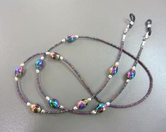 Glitzy Purple Beaded Spectacle Chain, Fancy Glasses Chain, Pretty Purple Shiny Glasses Chain, Funky Multicoloured Glasses Chain