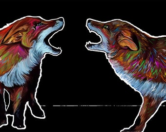 Playing Pups (Red Foxes Print); Bright, Colorful Art from Missoula, Montana. Room Decor for Wildlife & Animal Lovers. Perfect Gift Idea!