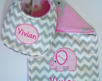 Bib and Burp Cloth personalized gift set - Light pink elephant, Monogrammed baby gift set, Bib and burp cloth gift set, Baby shower gift