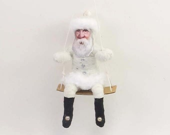 Vintage Inspired Spun Cotton Santa On Swing Ornament (MADE TO ORDER)
