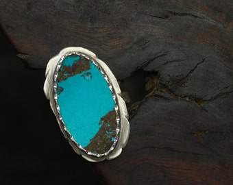 Large Shattuckite Silver Ring Southwest Sky Blue Brown Oval Gemstone Slice Unique Pattern Scalloped Bezel Double Shank Statement  - Ironwood