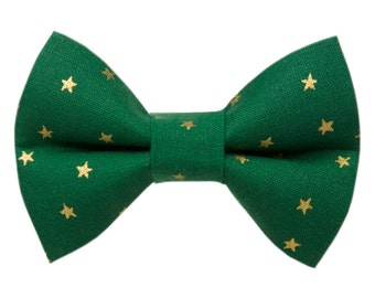"Cat Bow Tie - ""The Straight Shooter"" - Holiday Green with Metallic Stars"
