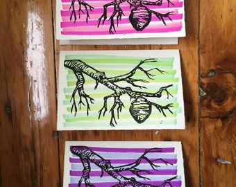 """Nest and Branch - Hand-Printed Greeting Card - 5x7"""""""