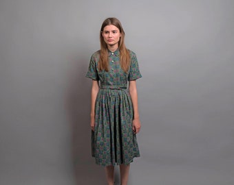 Vintage 50s Shirt Dress / Floral Summer Dress / Full Skirt Dress / 1950s Cotton Dress Δ size: S