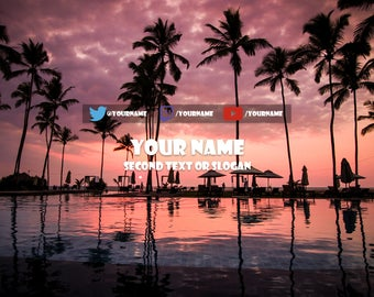Youtube Banner Customised Palm Tree Pink Sunset Design