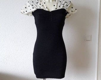 80s Black and White Polka Dot Bodycon Dress