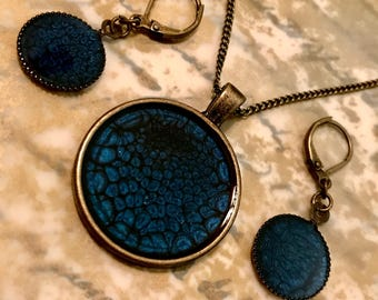 Midnight Blue Pebeo paint and Brass with Resin Necklace and Earring Set