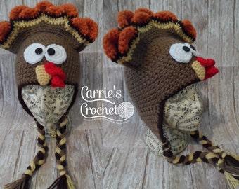 Crochet Turkey Hat - Thanksgiving Hat