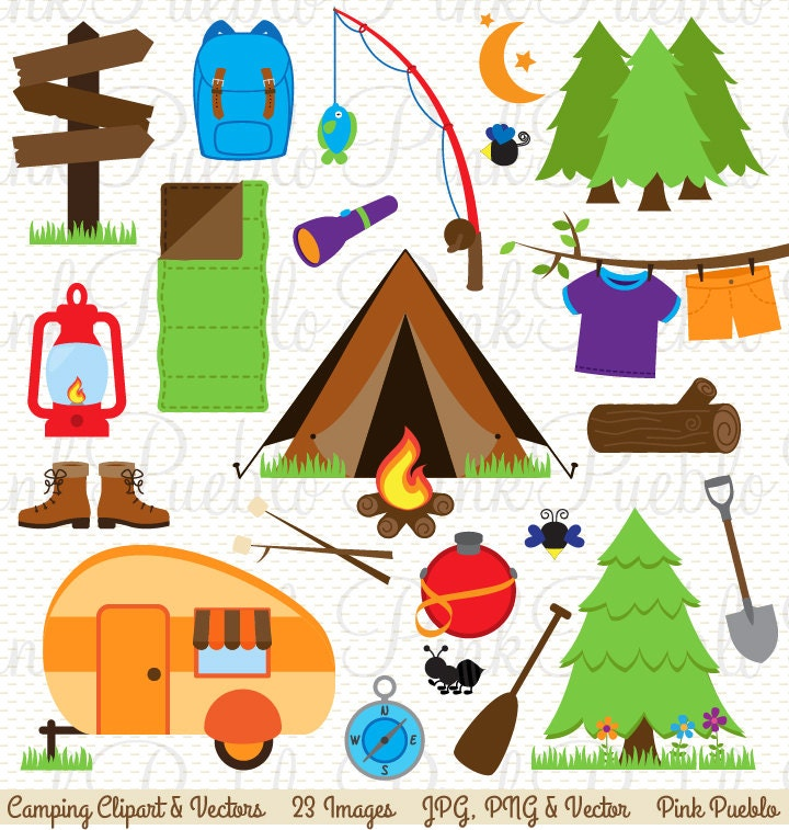 Camping Clip Art Clipart Invitation Or