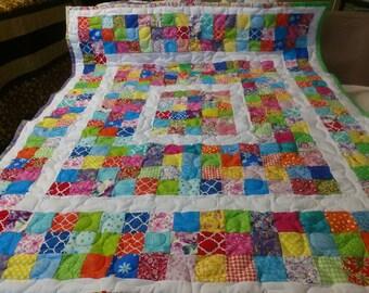 Handmade Pieced Boy Girl Scrappy Framed Baby Crib Lap Quilt Blanket Made in Arkansas Ozarks