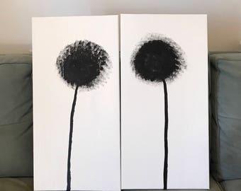Abstract Pom Pom Flowers