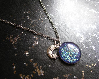 Purple Glitter Pendant Necklace, Crescent Moon and Star Necklace, Crystal Moon Jewelry, Wiccan Jewelry, Wiccan Necklace, Pagan Jewelry