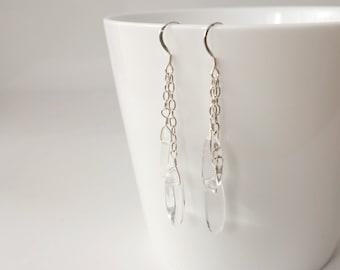 Rock crystal earrings silver chains earrings clear quartz stones minimalist earrings for women