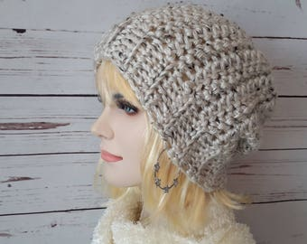 Crochet Slouchy hat Womens Slouchy Hat Chunky Winter hat Tweed Hat slouch hat Slouchy beanie Womens Slouch Crochet womens beanie