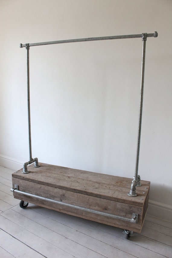 Pia galvanised steel pipe clothes rail with reclaimed pia galvanised steel pipe clothes rail with reclaimed scaffolding wood drawer unit bespoke urban industrial bedroom or shop fit furniture sisterspd