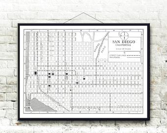 San Diego California 1925 Map Fine Art Print