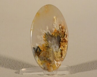 North Ridge Plume Agate Cabochon. Handcrafted USA. Natural Gemstone.