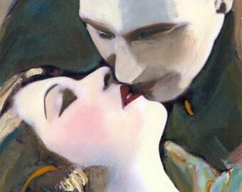 The Romantic kiss photograph print Vampire Romance Twilight theme Halloween