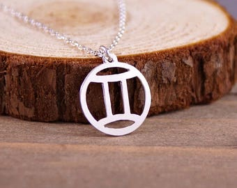 Gemini - Hand Cut Sterling Silver Glyph Pendant, Necklace
