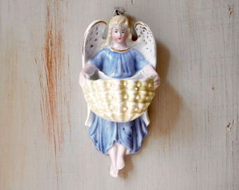 Antique Holy Water Font, Catholic Reliquary, Religious Statue, Angel Cherub Benetier, Angel Wall Pocket