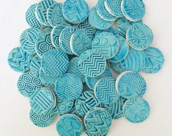 50 Ceramic Turquoise Mosaic Tiles - 1 inch