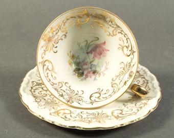 1900-1945 Bavaria GKC, Gareis, Kühnl & Co, tea cup set, tea cup and saucer set, German porcelain, China, porcelain, floral golden pattern