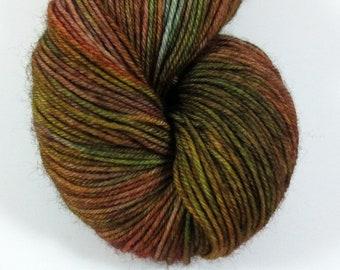 Robin Hood, QCC Yarn, Squooshy Cat Yarn, Fingering Weight Yarn, Merino Wool, Brown, Green