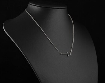 Silver Cross Necklace, Dainty Sideways Cross Pendant, Delicate Fine Chain, Simple Layering Necklace