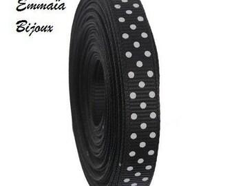 50 cm black ribbon with white dots 10 mm *.