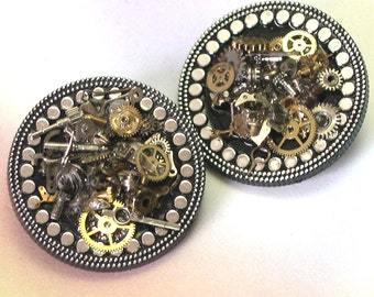 Recycled Repurposed Handmade Gears Steampunk Brooch, watch gear brooch, watch parts pin, steam punk brooch, eco friendly, unique