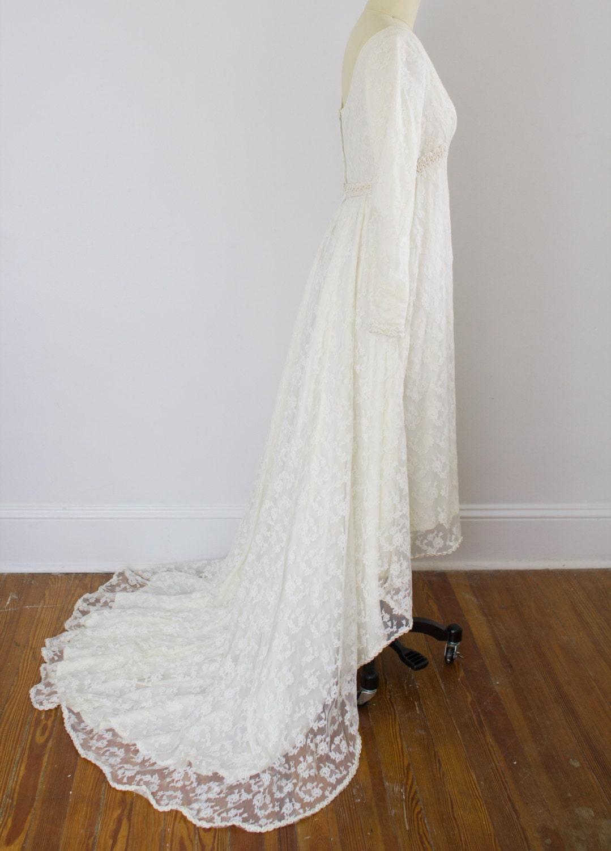 High-Low Vintage Spitze Brautkleid / lange Ärmel / Xs kleine
