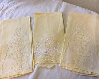 Vintage Towel, Vintage Tea Towel, Set of Three Tea Towels, Yellow