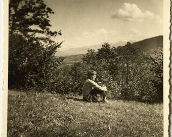 "Vintage Photo ""Thinking About Tomorrow"" Snapshot Antique Black & White Photograph Paper Found Ephemera Vernacular Interior Design Mood - 40"