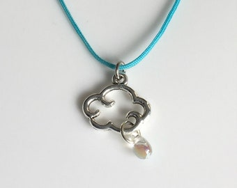 Little Rain Cloud Necklace Cloud Pendant Cloud Jewelry Cloud Charm Colorful Minimalist Jewelry Summer Necklace Spring Sale