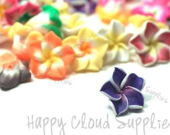 Tiny Polymer Clay Plumeria Frangipani Flower Beads Mix... 20pcs